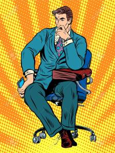 thoughtful businessman sitting in chair